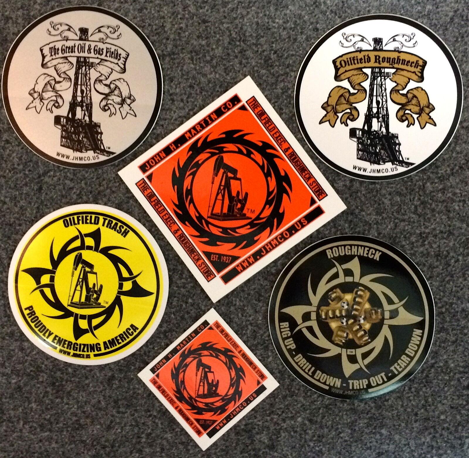 6 Oilfield Hardhat Stickers Roughneck Drilling Rig Oil Trash Decals Frac  Gas Bit