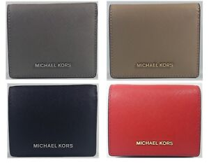New-Authentic-Michael-Kors-Women-039-s-Jet-Set-Leather-Card-Holder-Wallet-CLEARANCE