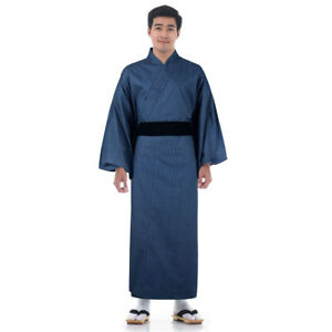 info for popular style provide plenty of Détails : Traditional Japanese Men Yukata Kimono Vintage Samurai Robe Obi  Cotton Blue