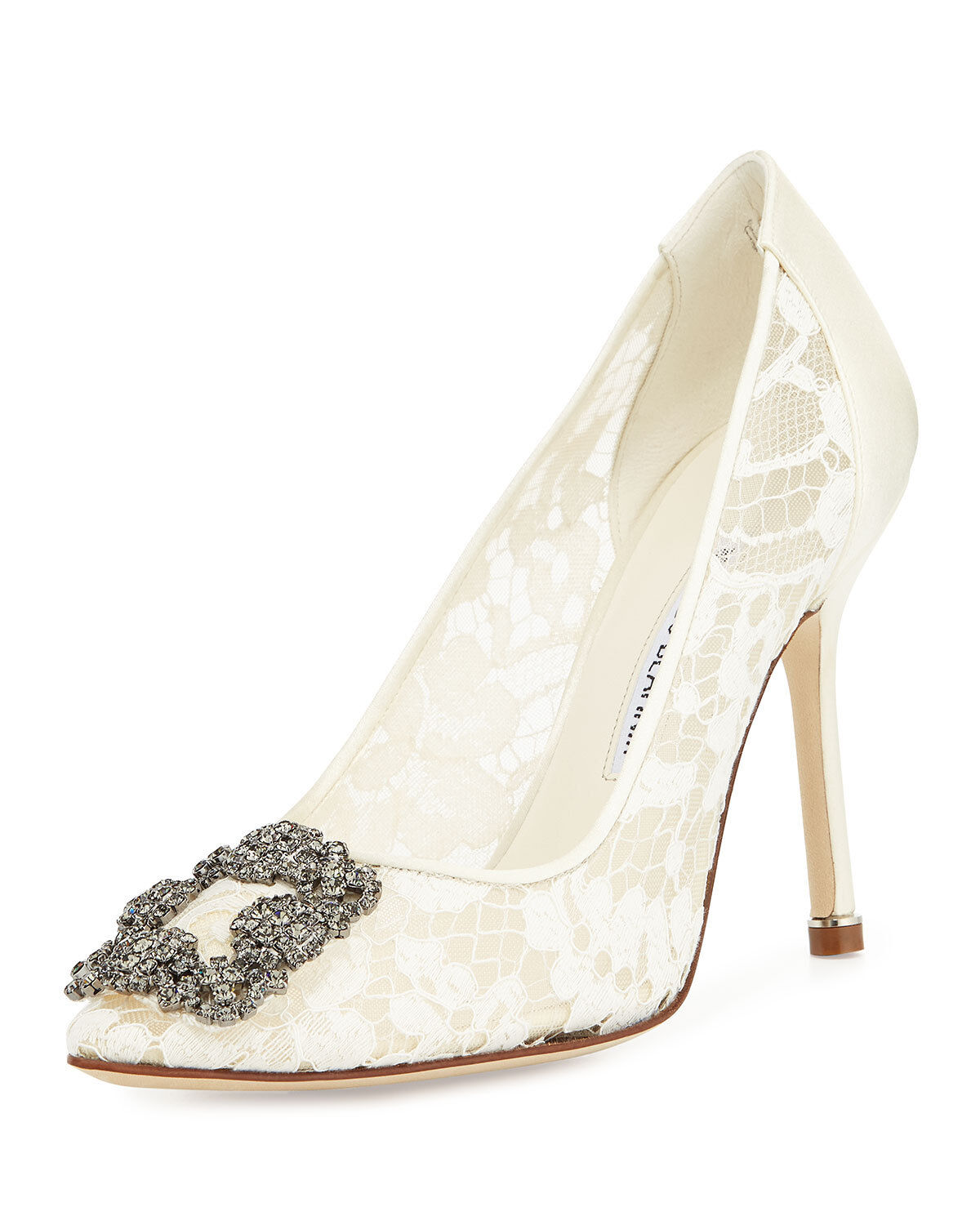 1035 NEW MANOLO BLAHNIK HANGISI 105 Lace Crystal Pump Wedding shoes Ivory 40.5