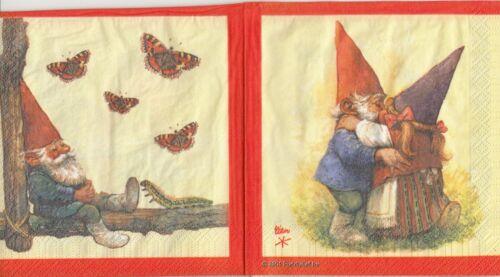 4 rara vez enanos con pájaro schmetterl u8-39 2 lunch papel servilletas napkins