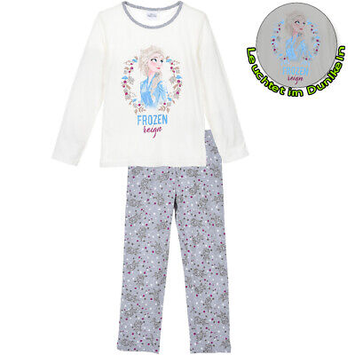 Eiskönigin II Elsa Schlafanzug Pyjama Langarm Leuchtet im Dunkeln Grau Baumwolle