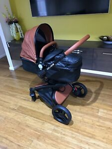 Brand-New-3-in-1-Brown-Lether-Baby-Stroller