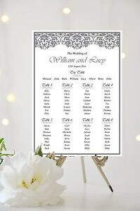 Image Is Loading Lace Effect Wedding Table Plan Seating Sign