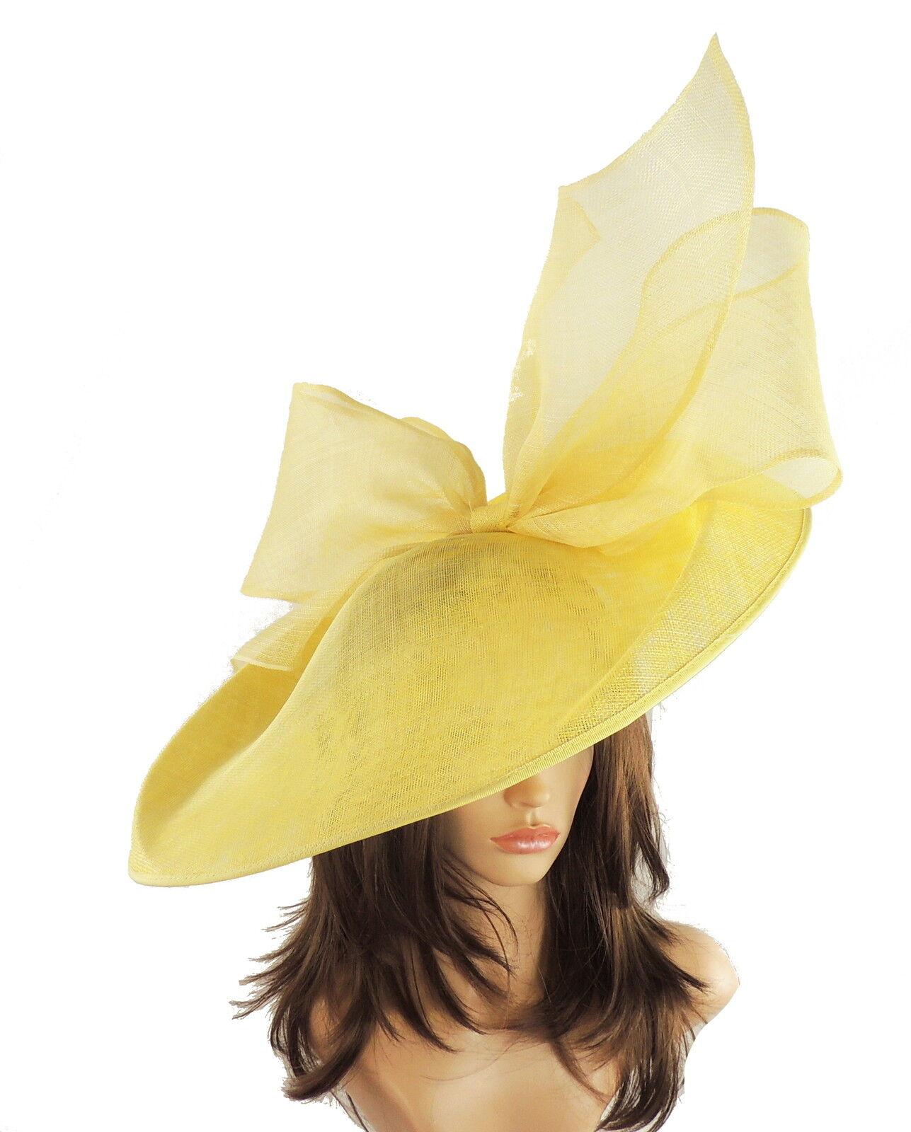 Lemon Yellow Large Ascot Hat for Weddings, Ascot, Derby B7