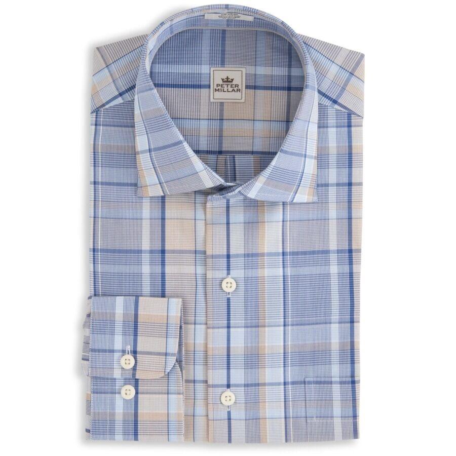 Petter Millar End-on-End Plaid Sport Shirt, Spread Collar Cotton 2XL, NWT