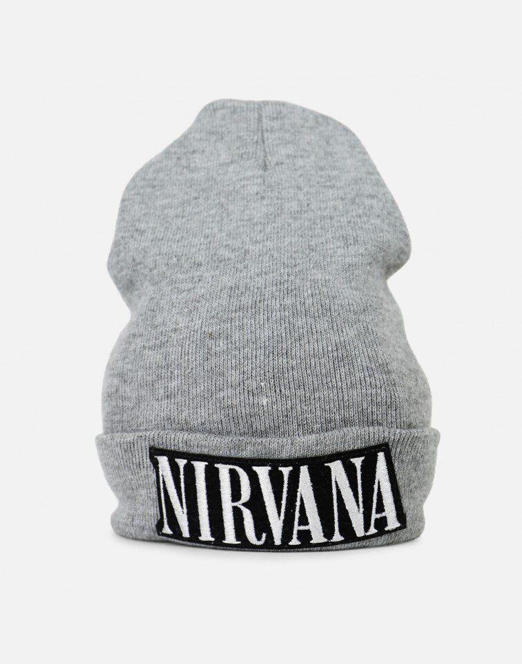Retro gray Nirvana beanie