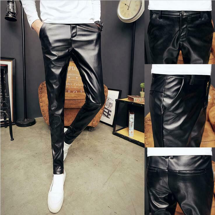 New Mens Pencil Pants Motor Brushed Leaisure Leather Zip Winter Hot Casual Vogue