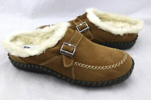 MINNETONKA-Nutmeg-Brown-Suede-Leather-Faux-Fur-Clogs-Flats-Slippers-Shoes-8-6511