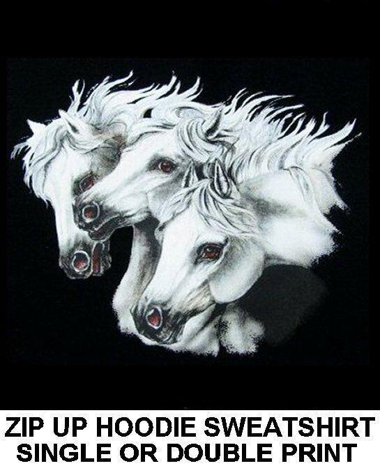 BEAUTIFUL grau Weiß ARABIAN ARAB STALLION ART HORSE SHOW ZIP HOODIE SWEATSHIRT