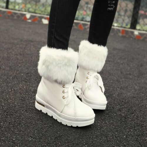 Fashion Womens Lace Up Round Toe Warm Fur Hidden Wedge Ankle Boots Winter Shoes