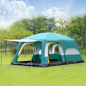 Image is loading Large-C&ing-Tent-8-10-Person-Family-Outdoor- & Large Camping Tent 8-10 Person Family Outdoor Cabin Dome Canopy ...