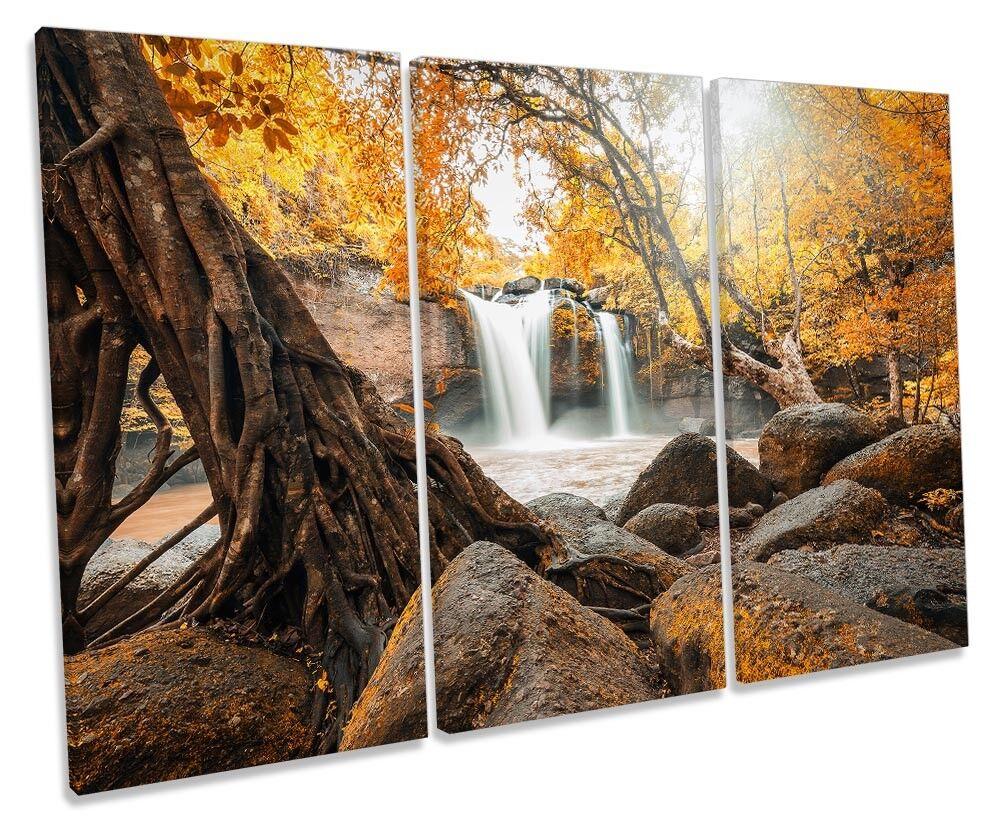 Immagine di cascata Arancione DEL TRAMONTO TREBLE TELA Wall Art Print
