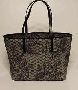 51db18d7e86ce6 NEW Michael Kor Emry Large top zip paisley black swirl leather tote ...