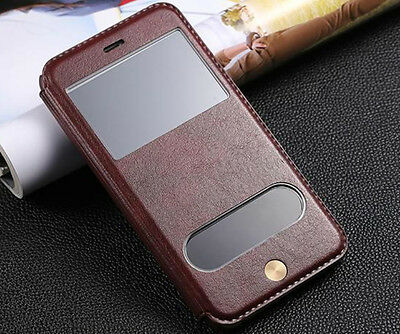Luxuxy Leather Flip View Window Stand Case Cover For iPhone 6 6S Plus 7 7 Plus