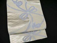 Vintage Japanese Silver Silk Fukuro-Obi 'Blue Obijime Cords' For Kimono/Crafts?