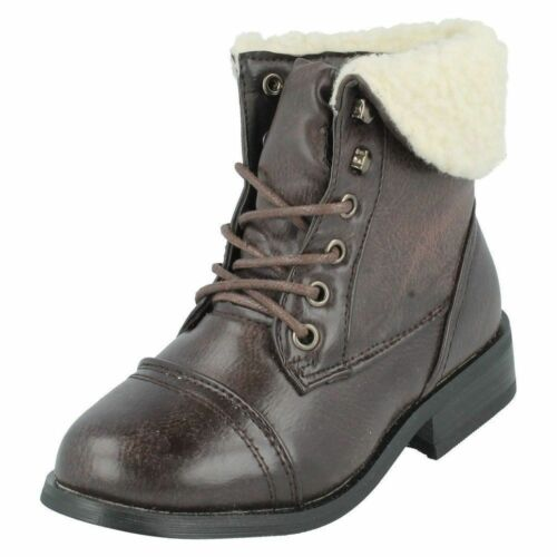 GIRLS CUTIE BROWN LACE UP FAUX FUR TRIM ROUND TOE WINTER ANKLE BOOTS H4R060