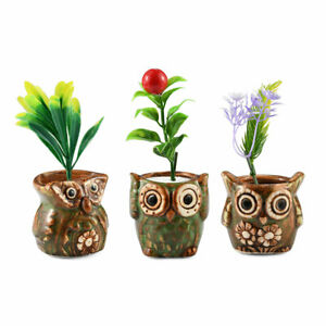 Home-Office-Decor-Gift-Handcrafted-Set-of-3-Green-Animal-Ceramic-Pots-5-in