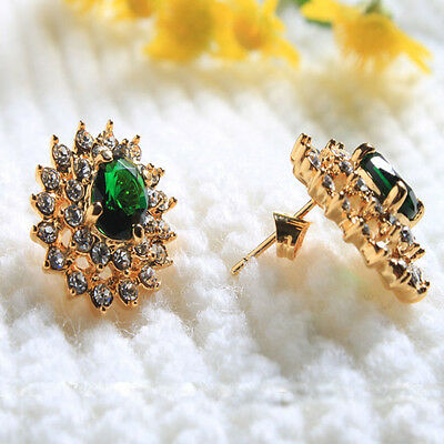 Fashion Jewelry 18K Gold Filled Crystal Rhinestone Emerald Hoop Earrings Stud