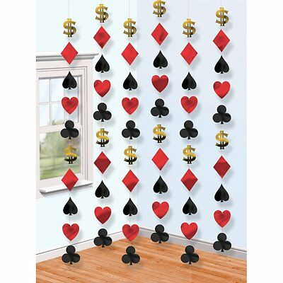 6 x 7ft Casino / Vegas Themed Foil Shapes Hanging Strings Party Decoration - New