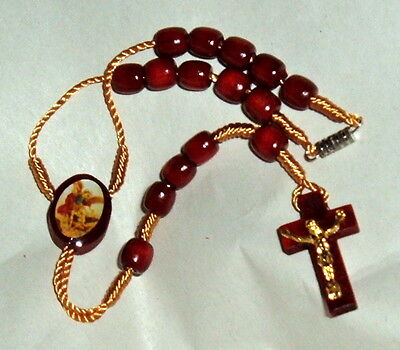 ST SAINT MICHAEL 1 DECADE Auto Rosary  9 inch Wood NEW Archangel car Protection