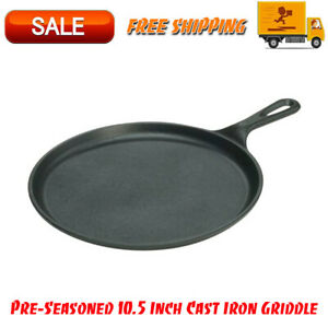 Pre-Seasoned-10-5-Inch-Cast-Iron-Griddle-with-Easy-Grip-Handle-Kitchen-Cookware