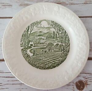 "Homer Laughlin Pastoral Bread Plate USA C57 N6 White Green 6 3/4"""