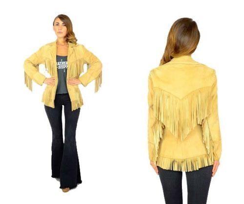 Desgaste de cuero para mujer  Amarillo Western Cowboy flecos abrigo chaqueta nativo americano  oferta de tienda