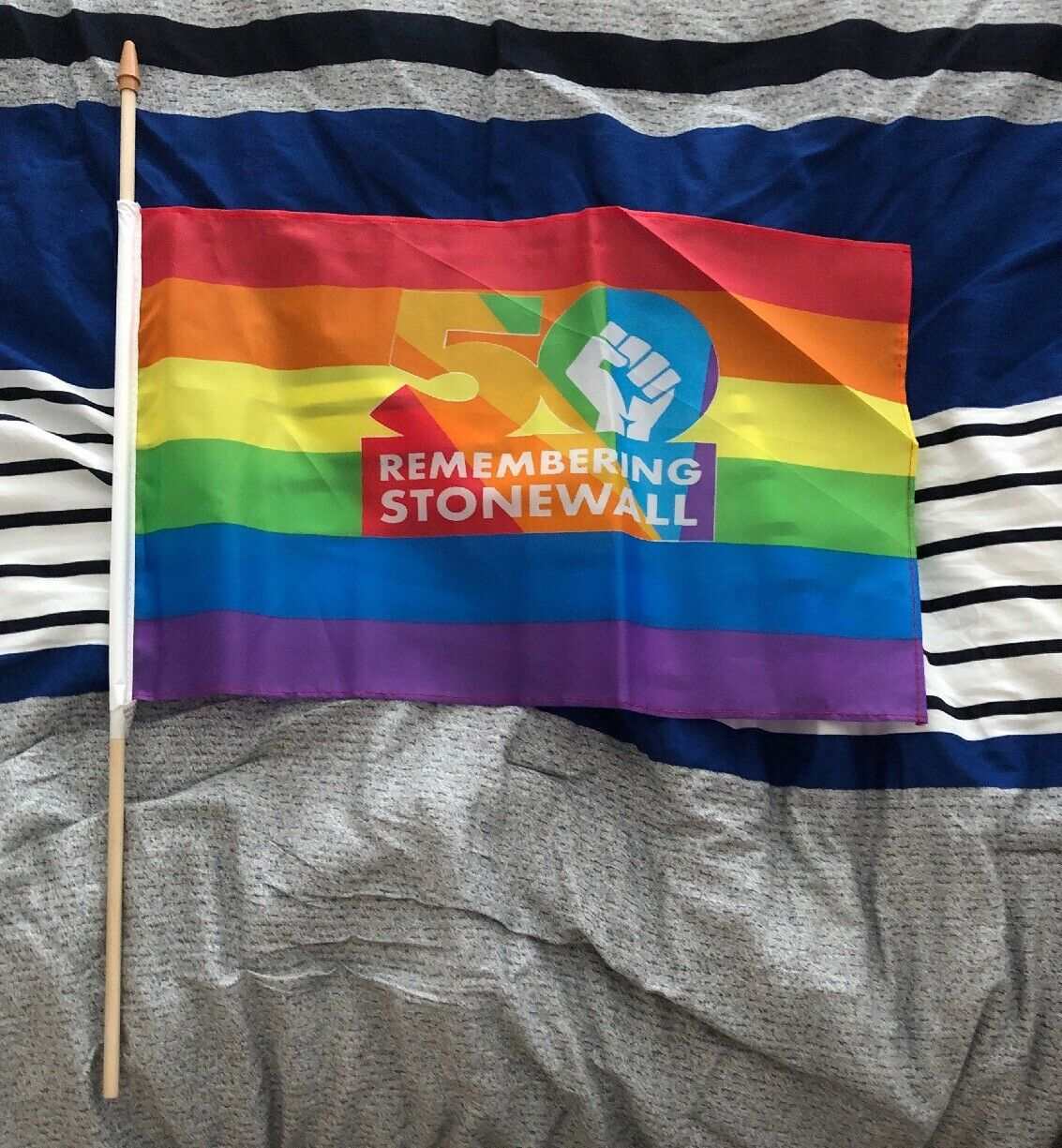 Pride Parade Hand Held Flag New York City 50th Anniversary Remembering Stonewall
