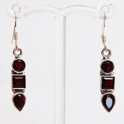 925 Sterling Silver Semi-Precious Red Garnet Drop Earrings