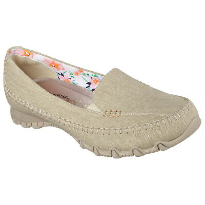 NEW SKECHERS Women Sneakers Slipper Memory Foam BIKERS - NEVERLAND Natural-Beige