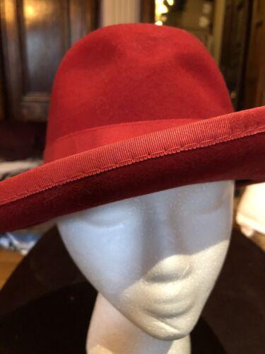 Vintage Red Wool Felt Wide Brim Fedora Flapper Hat