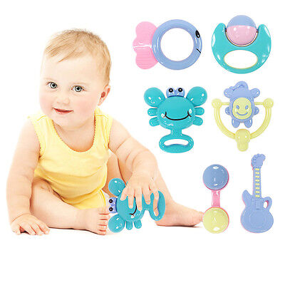 4pcs Mixed Baby Toy Rattles Set Learning Fun Development Toys 0-12 Months