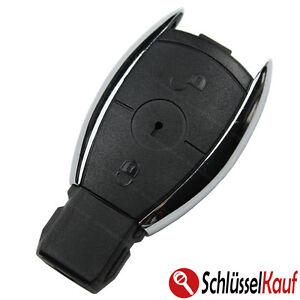 Autoschluessel-2-Tasten-Gehaeuse-Chrom-passend-fuer-Mercedes-Benz-W203-W204-W211