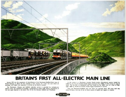 Britain/'s First All-electric Main Line Railway Retro Vintage Picture Poster A3