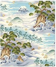 Kona Bay Japanese Asian Quilting Fabric - Journey Mt. Fuji, Pines & Waves - Blue