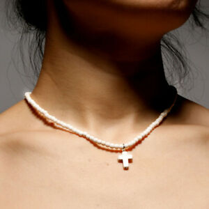 Exclusive-Natural-Stone-Cross-Pendant-Necklaces-Cute-for-Women-Beaded-Choker