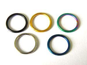 5x Closure Rings Hoop Titanium Plated Stainless Steel Earring Lip  UK POST