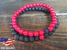 Distance Bracelets Couples 2 pcs Stone Chakra Red Howlite & Lava Stone 6mm