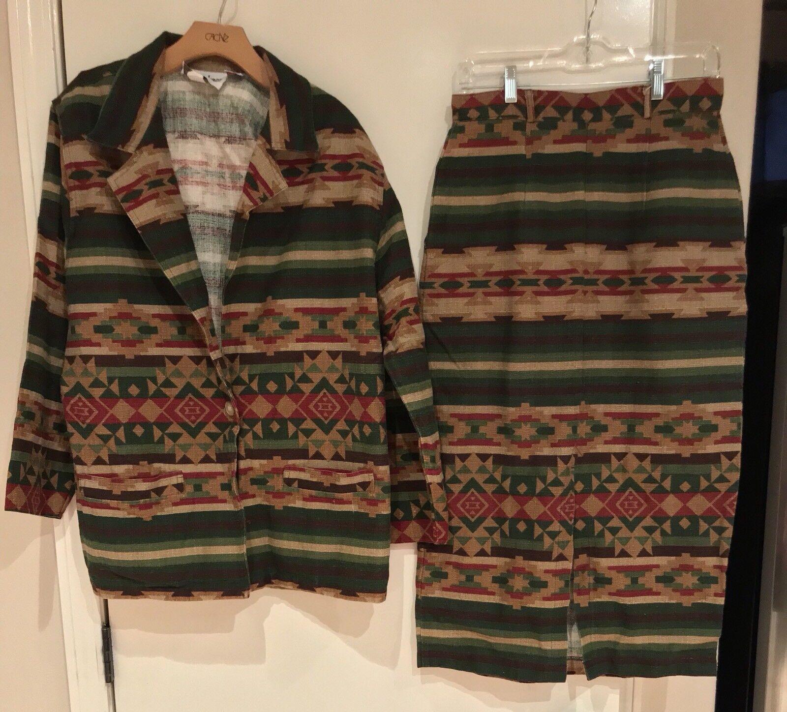 VINTAGE Southwest Aztec On The Verge Suit Two Piece Skirt Blazer USA Medium 12