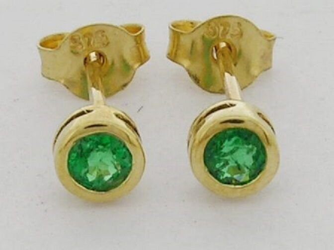 E072- GENUINE 9ct Solid Yellow gold NATURAL Emerald Round Bezel Stud Earrings