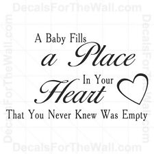 A Baby Fills Place In Your Heart That You Never Vinyl Wall Decal Art Sticker K98