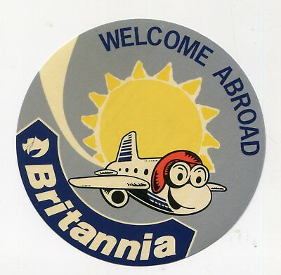 Aviation Vintage Airline Luggage Label Sticker Britannia Welcome Abroad Transportation