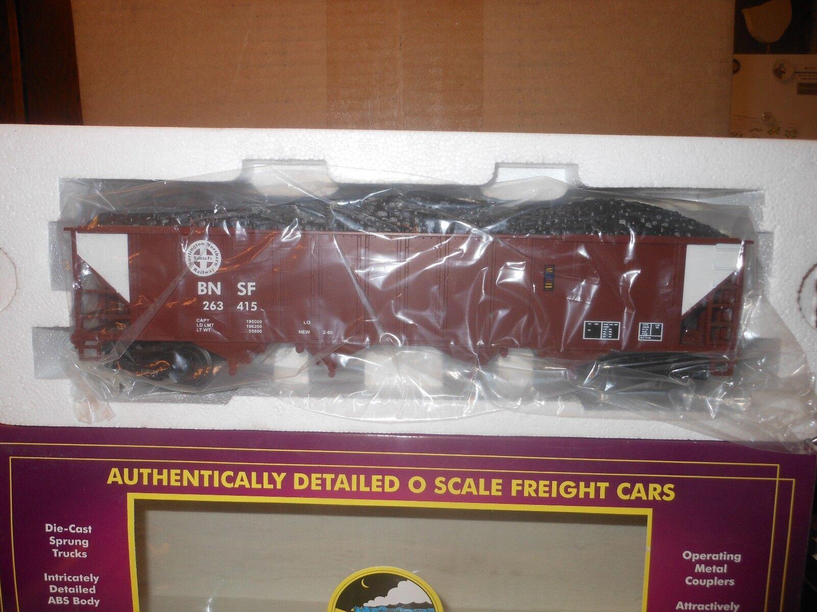 MTH PREMIER 20-90010C BNSF 4 BAY HOPPER TRAIN CAR NIB RATED C9 FACTORY  NEW