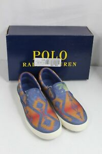 c1e9aa61 Details about Polo Ralph Lauren Thompson Aztec Blue Casual Slip-On Sneakers  US 7D Mens Shoes