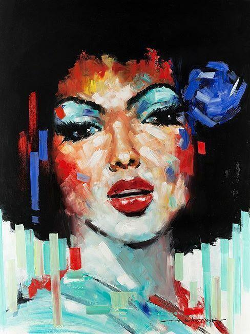 E.Anthony Orme Confetti Girl I Keilrahmen-Bild Leinwand Frau Portrait bunt
