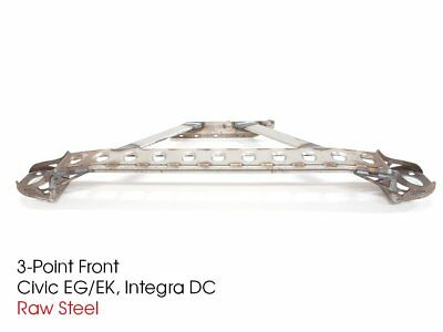 Fit Civic Integra Aluminum 3 Point Gunmetal Front Upper Strut Tower Brace Bar