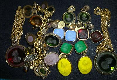 Vintage Five Panel Glass Intaglio Thai Dancer bracelet AB911