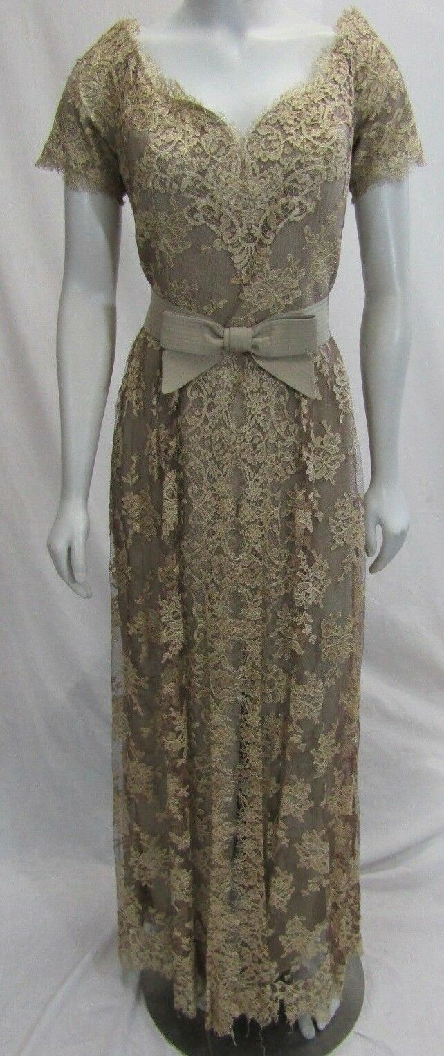 Liancarlo Couture Neiman Marcus 10 Evening Long Gown Floral Lace Bronze Beige