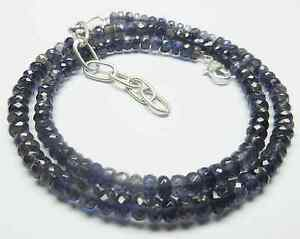 """81CT Natural Iolite Gemstone Rondelle Faceted Beads 19.5"""" NECKLACE 4.5-7.5MM S86"""